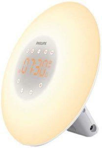 Philips Eveil Lumière - HF3505/01 - Simulateur d'aube avec lampe LED (10 réglages) et interface tactile - Blanc